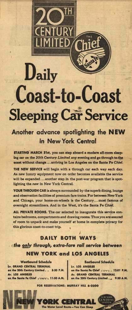 New York Central System's Sleeping car service – Daily Coast-to-Coast Sleeping Car Service (1946)