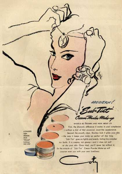 Coty's Sub-Tint Cosmetics – Modern! 'Sub-Tint' Cream-Powder Make-up (1946)