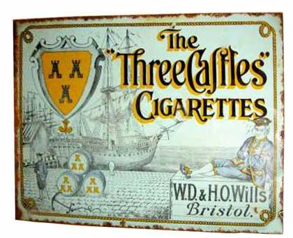 Wills Three Castles Cigarettes Sign