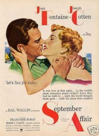 "Movie Ad ""September Affair"" Joan Fontaine (1951)"