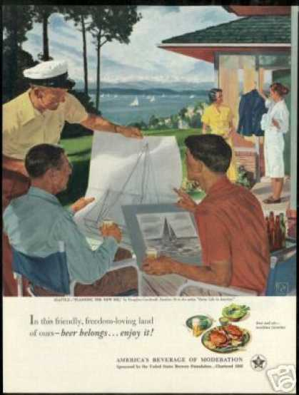 Seattle WA. Sailboat Crockwell Art Beer Brewers (1951)