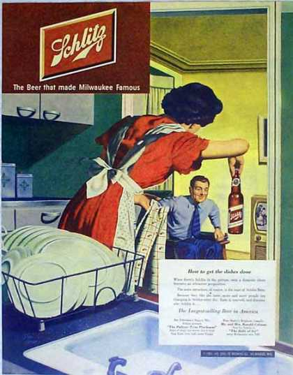 Schlitz Beer – Getting the Dishes Done – Art by Stan Eikman – Sold (1951)