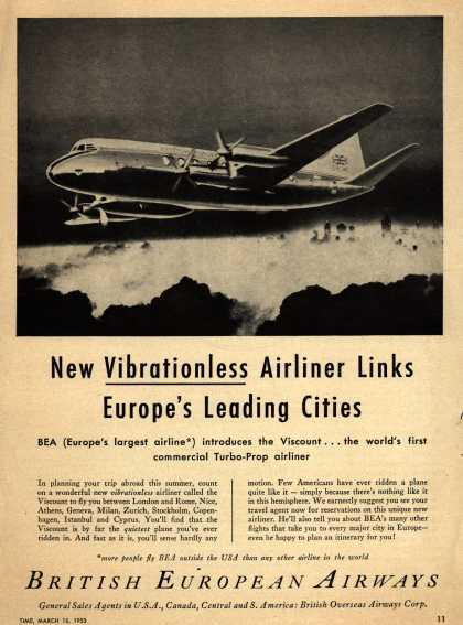 British European Airway's Viscount vibrationless aircraft – New Vibrationless Airliner Links Europe's Leading Cities (1953)
