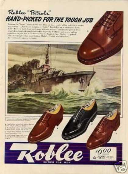 Roblee Men's Shoes Ad Stahl Art (1942)
