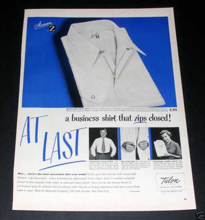 Airman Talon Zipper Dress Shirt Ad, Exc (1949)