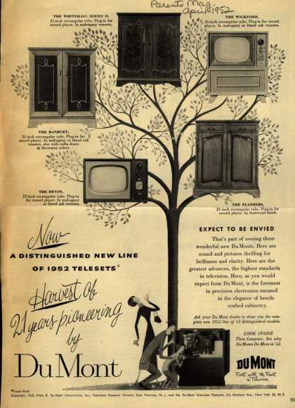 Allen B. Du Mont Laboratorie's various – Now a Distinguished New Line of 1952 Telesets: Harvest of 21 years pioneering by Du Mont (1952)