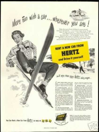 Pretty Snow Skier Hertz Rent A Car Vintage (1950)