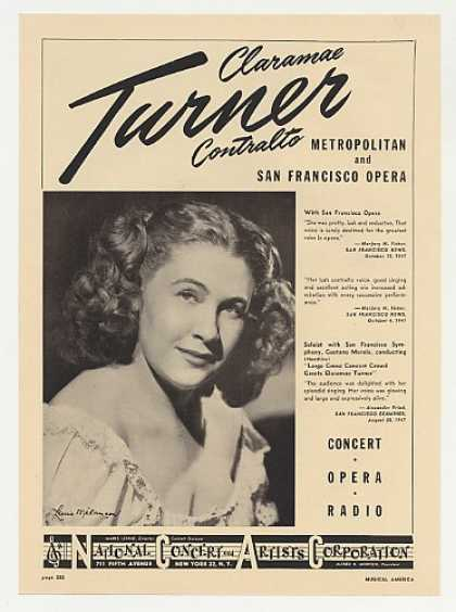 Opera Contralto Claramae Turner Photo Booking (1948)