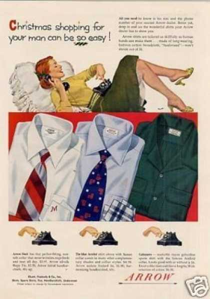 "Arrow Shirts Ad ""Christmas Shopping For.. (1952)"
