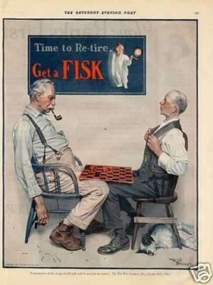 Fisk Tire Color Ad Men Playing Checkers (1925)