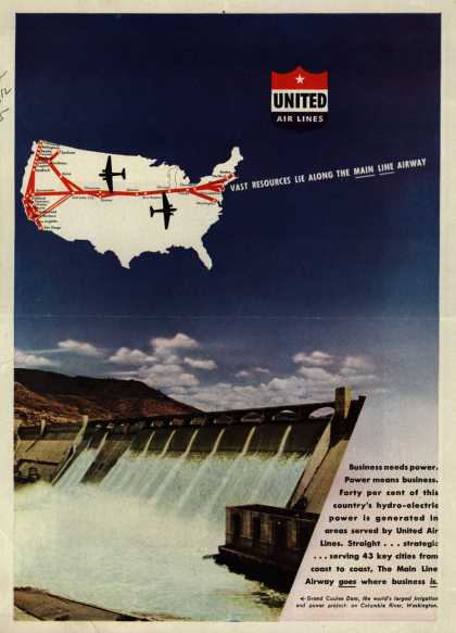 United Air Line's Main Line Airway – VAST RESOURCES LIE ALONG THE MAIN LINE AIRWAY (1945)