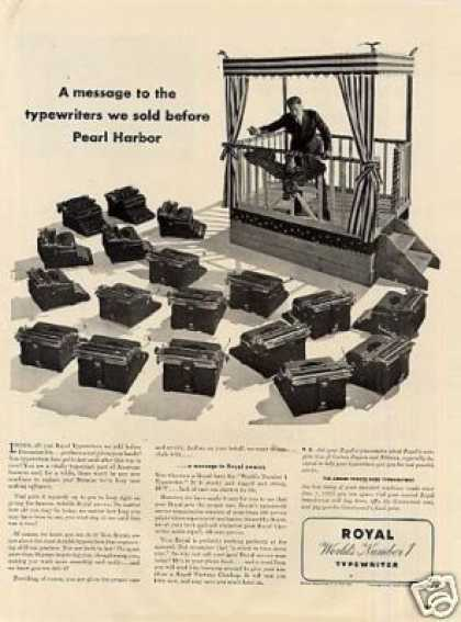"Royal Typewriter Ad ""A Message To the Typewriters (1942)"