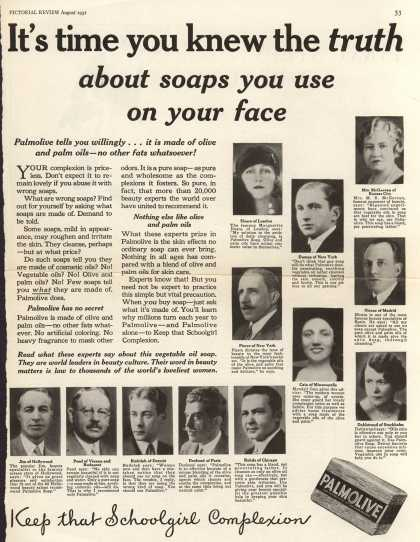 Palmolive Company's Palmolive Soap – It's time you knew the truth about soaps you use on your face (1931)
