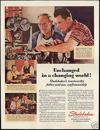 Studebaker Car Craftsmanship Father Son Photo (1946)