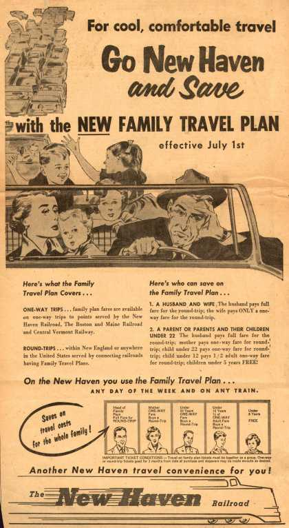 New Haven Railroad – For cool, comfortable travel Go New Haven and Save with the New Family Travel Plan (1954)