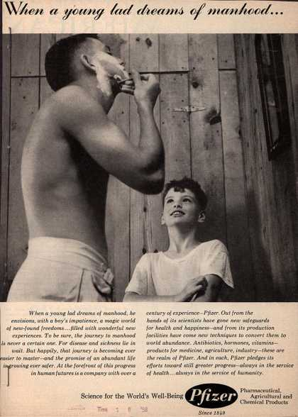Chas. Pfizer & Company, Incorporated – When a young lad dreams of manhood... (1958)