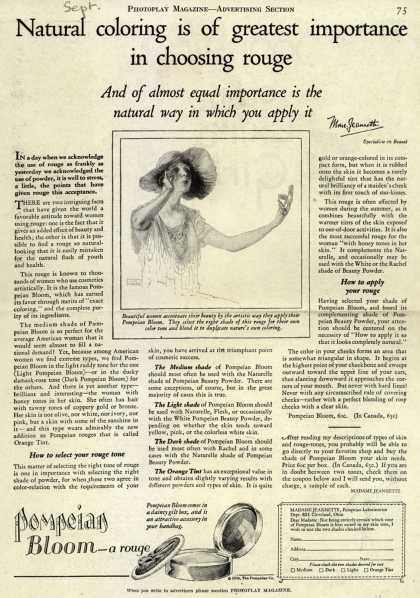 Pompeian Bloom's rouge – Natural coloring is of greatest importance in choosing rouge (1924)