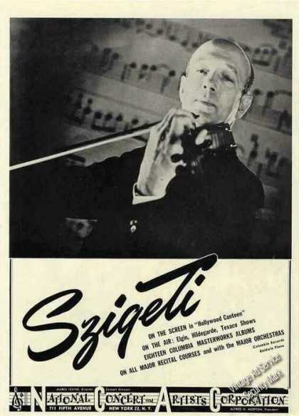 Joseph Szigeti Photo Violin Booking (1945)
