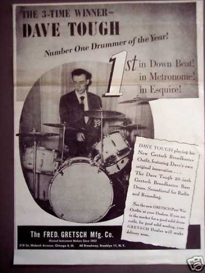 Dave Tough Gretsch Broadkaster Bass Drums Music (1946)