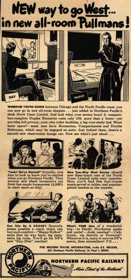 Northern Pacific Railway Company's western U.S. – New way to go West...in new all-room Pullmans (1948)
