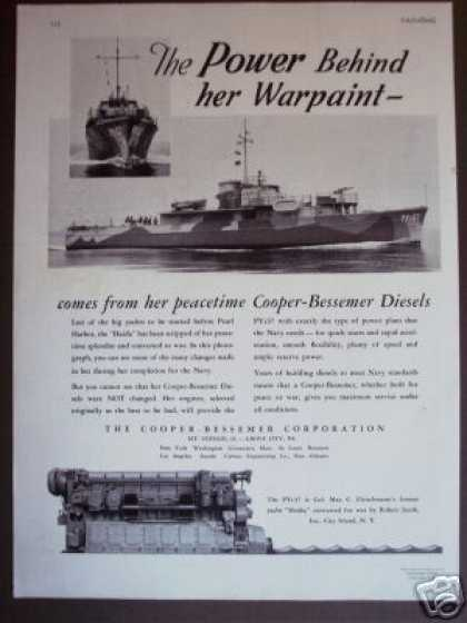 Cooper-bessemer Marine Boat Engine Photo (1942)