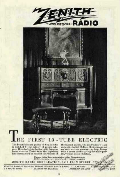 "Zenith Radio ""The First 10-tube Electric"" (1927)"
