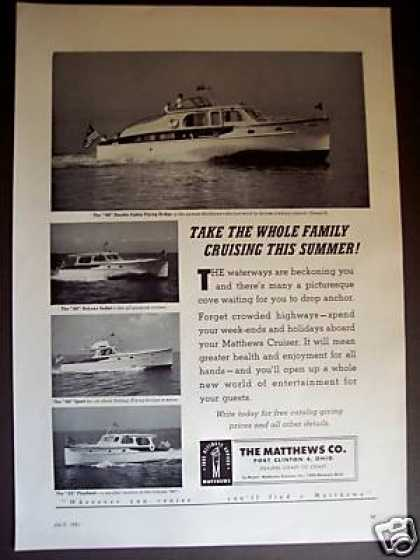 Matthews Cruisers Yacht Boat 4 Models Photo (1951)