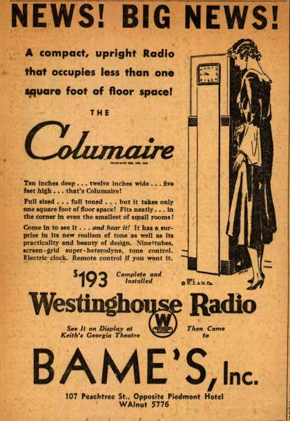 Westinghouse Radio's Columaire – News! Big News (1931)