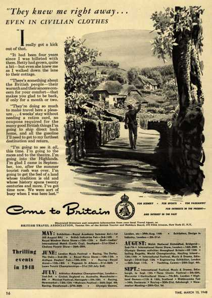 "British Travel Association's Britain – ""They knew me right away... even in civilian clothes. (1948)"