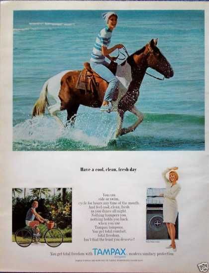 Tampax Lady Riding Horse Beach Water Bicycle Bike (1966)