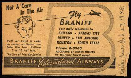 Braniff International Airway's family air fare – Not A Care In The Air (1948)