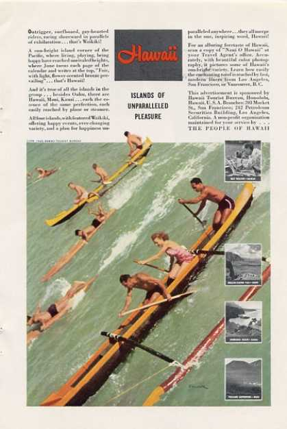 Hawaii Travel Ad Wood Surfboard Canoe Ad T (1940)