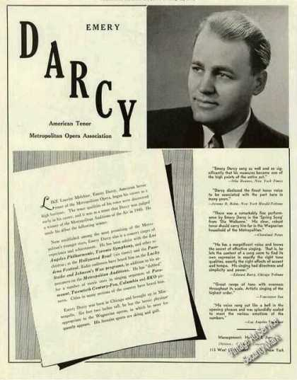Emery Darcy Photo Tenor Opera Booking (1942)