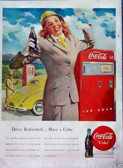 Coca Cola Coke Lady Drive Refreshed Gas Pump (1948)