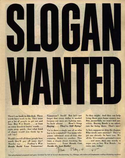 Felt & Tarrant Manufacturing Co.'s War Bonds – SLOGAN WANTED (1945)