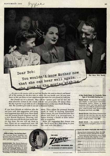 Zenith Radio Corporation's Hearing Aids – Dear Bob: You wouldn't know Mother now that she can hear well again... (1945)