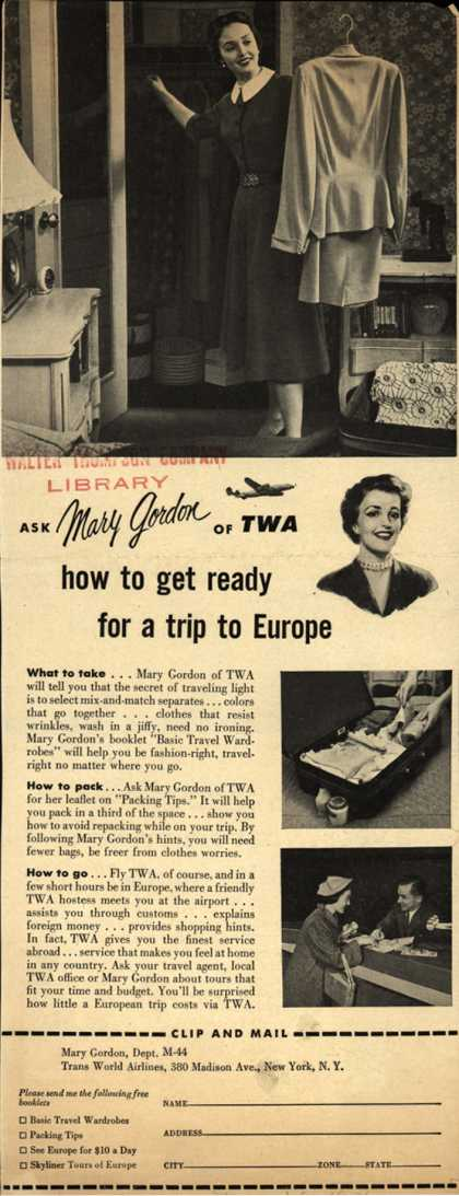 Trans World Airline's Mary Gordon – Ask Mary Gordon of TWA how to get ready for a trip to Europe (1954)