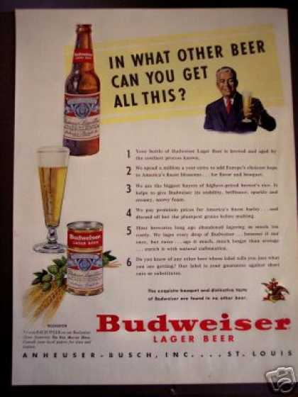 Budweiser Lager Beer Anheuser Busch Bottle Can (1950)