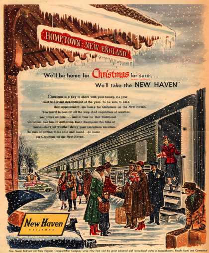 "New Haven Railroad – ""We'll be home for Christmas for sure...We'll take the New Haven"" (1953)"