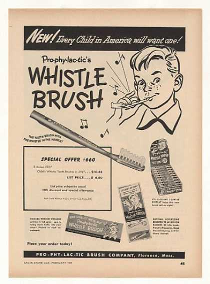 Pro-Phy-Lac-Tic Whistle Tooth Brush (1949)
