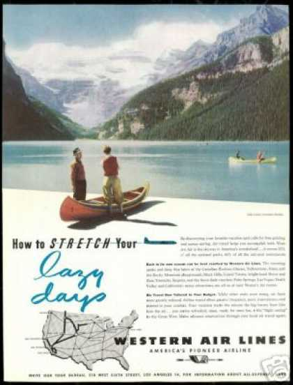 Western Airlines Lake Louise Canada Travel (1946)