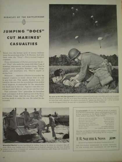 ER Squibb and Sons. Jumping docs cut Marine casualties. War theme (1944)