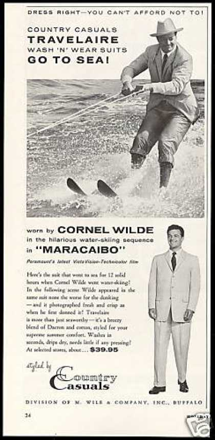 Cornel Wilde Photo Water Skiing Suit Fashion (1958)
