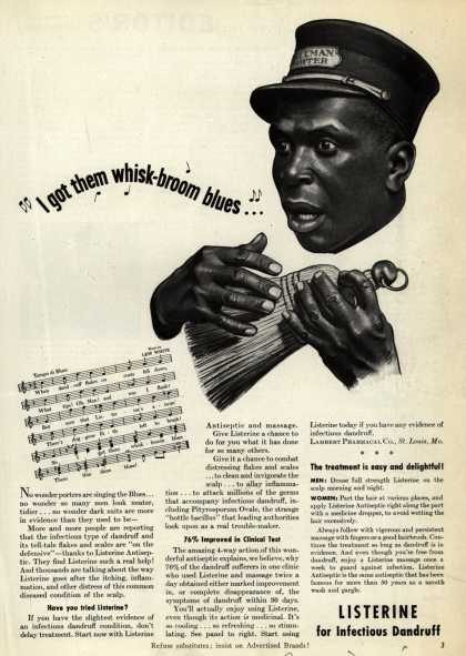 Lambert Pharmacal Company's Listerine Antiseptic – I got them whisk-broom blues... (1941)
