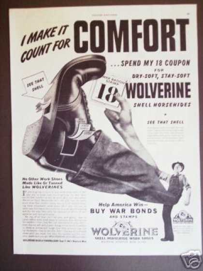 Wolverine Horsehide Work Shoes Boots War Ration (1943)