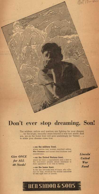 Ben Simon & Son's Lincoln United War Fund – Don't ever stop dreaming, Son (1943)