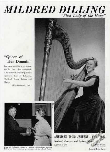 Mildred Dilling Photo Harpist Booking (1962)