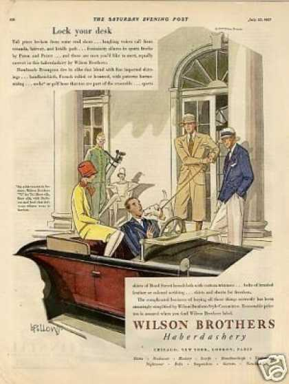Wilson Brothers Clothes Color Ad Fellows Art (1927)