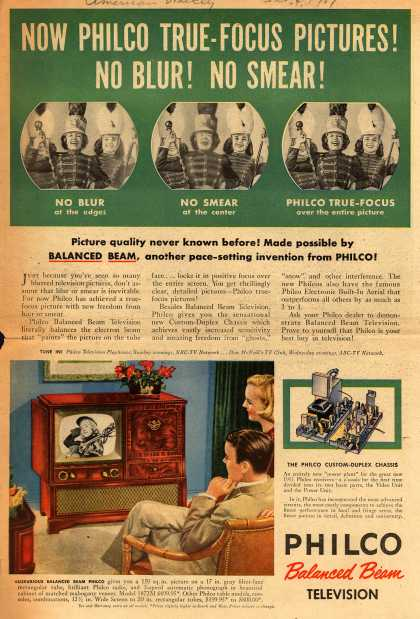 Philco's Model 1872M – Now Philco True-Focus Pictures! No Blur! No Smear (1951)