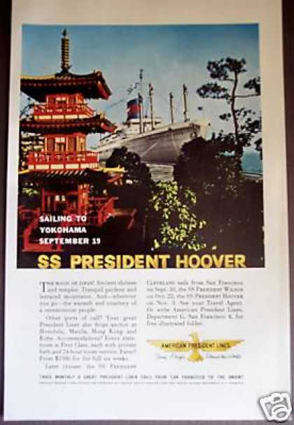 Ss President Hoover Sailing To Yokohama Travel (1960)
